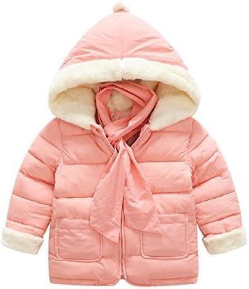 Scarf Gift Winter Jackets Girls Boys Hooded Solid Zipper Kids Winter Coats Outerwear Children Clothing TM Skuleer Gray 3T