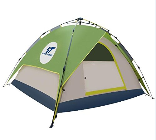 Yongtong 3-4 person 4 Season Outdoor Tents Automatic Pop Up Ultralight Tent 2 Doors 2 Vestibules Anti-UV Windproof Waterproof, for Camping, Hiking, Travel, Hunting (Mixed Color, Green, White, Bule)