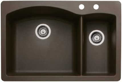 Blanco 440197-2 Diamond 2-Hole Double-Basin Drop-In or Undermount Granite Kitchen Sink, Cafe Brown