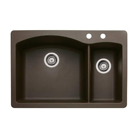 Blanco 440197-2 Diamond 2-Hole Double-Basin Drop-In or Undermount Granite Kitchen Sink, Cafe Brown (Brown Granite Kitchen Sinks)