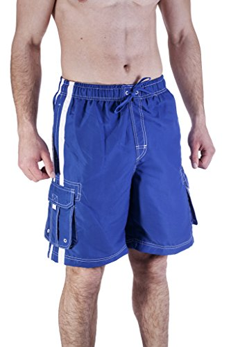 Mens Swim Trunk With Cargo Pockets Small, Royal Blue