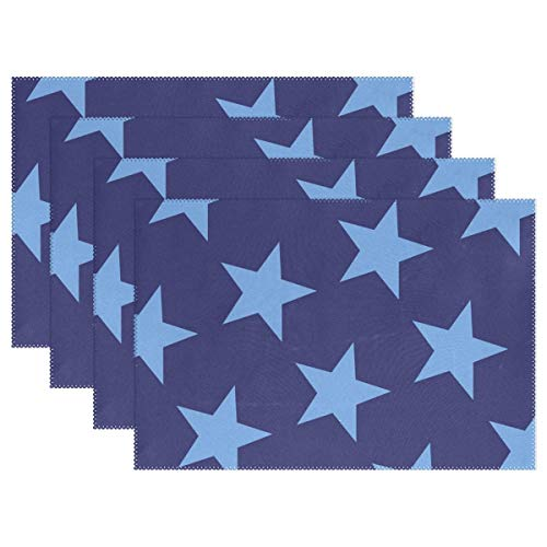 (AIKENING Stars Blue Placemats Set of 4 Heat Insulation Stain Resistant for Dining Table Durable Non-Slip Kitchen Table Place)