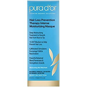 PURA D'OR Hair Thinning Therapy Intense Moisturizing Masque, Deep Hydrating Hair Mask Treatment, Infused with Natural & Organic Ingredients, For All Hair Types, Men & Women, 12 Fl Oz (8 Packets)