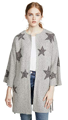 cupcakes and cashmere Women's Etoile Star Jacquard Cardigan with lace up Sides, Light Leather Grey, Small