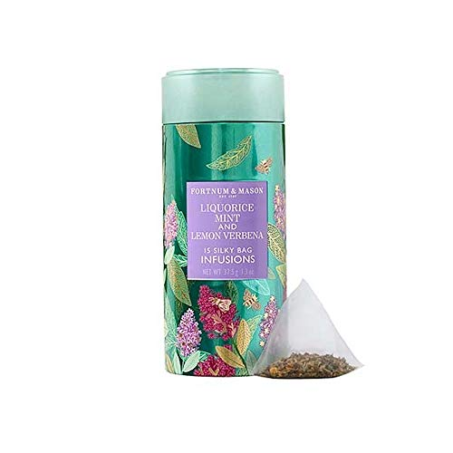 Fortnum and Mason British Tea. Liquorice, Mint and Lemon Verbena Infusion Tin, 15 Count Silky Tea Bags (1 Pack) Usa Stock