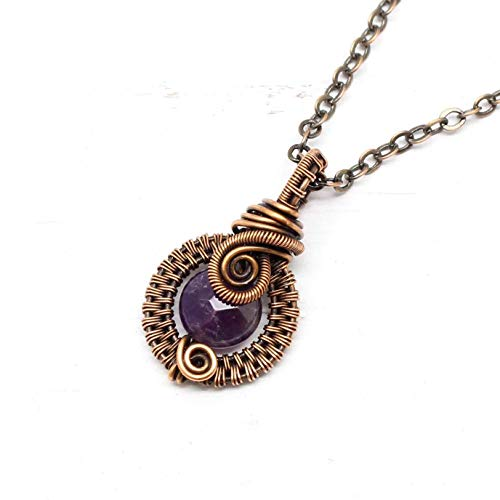 Small Amethyst Copper Wire Wrapped Pendant Necklace 18