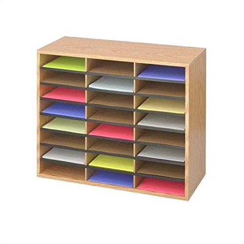 Forms Organizer - Safco Products 9402MO Literature Organizer Wood/Corrugated, 24 Compartment, Medium Oak