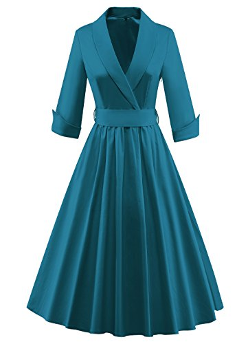 Tecrio Women Vintage Classy 1/2 Sleeve Rockabilly Solid Trench Coat Spring Dress (XXX-Large, Emerald) ()