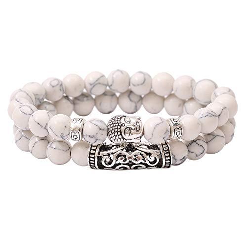 Bsjmlxg Women and Men 8mm Alloy Buddha Head Pattern Copper Tube Natural Stone Beaded Bracelet, Fashion Simple, Wrist Comfort - Heart Open Strand Bracelet