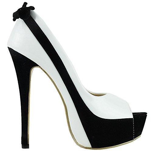 - SHOW STORY Sexy White Black Two Tone Peeptoe Bow Stiletto Platform High Heels Pumps,LF40501WT38,7US,White