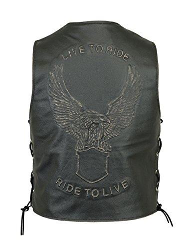 Chaleco de piel Para Hombre/Biker chaleco–Eagle EMBOSE Live to Ride cordones laterales