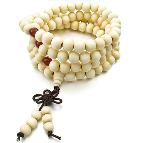 [Men Women's Wood Bracelet Link Wrist Necklace Chain Tibetan Buddhist Sandalwood Prayer Buddha Mala,] (Rogue Costume Uk)