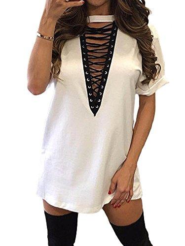 TOB Women's Sexy Halter Lace up T Shirt Mini Club Dress Plus Size White