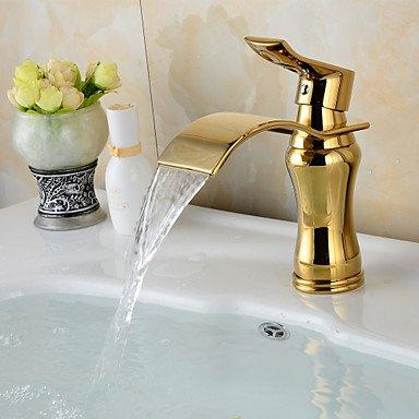 Lozse zeitgenössische Wasserfall Messing ti-PVD-Waschbecken Wasserhahn - Golden