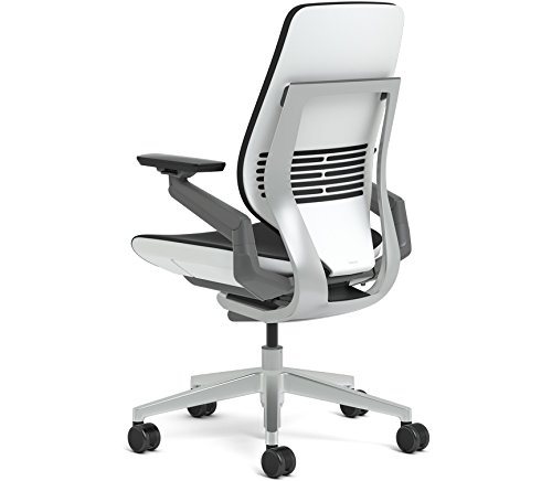 Mahogany Award Base - Steelcase Gesture Office Chair - Mahogany Leather, Low Seat Height, Shell Back, Light on Light Frame, Polished Aluminum Base