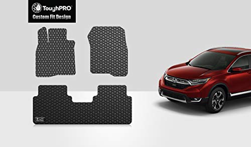 ToughPRO Floor Mats Set (Front Row + 2nd Row) Compatible with Honda CR-V - All Weather - Heavy Duty - (Made in USA) - Black Rubber - 2017, 2018, 2019