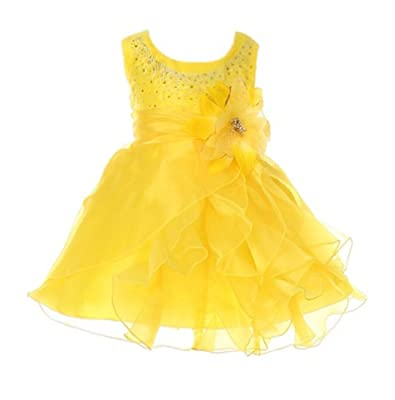 Cinderella Couture Baby-Girls Cascading Crystal Organza Rhinestone Dress