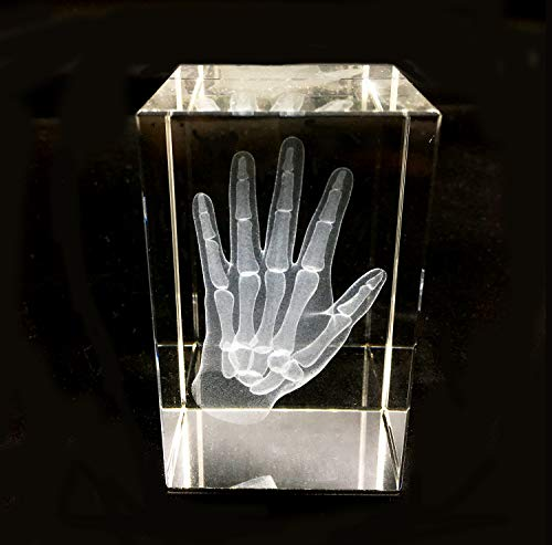 3D Human Hand Skeleton Anatomical Model Paperweight(Laser Etched) in Crystal Glass Cube Science Gift (No Included LED Base)(3.1x2x2 inch) ()