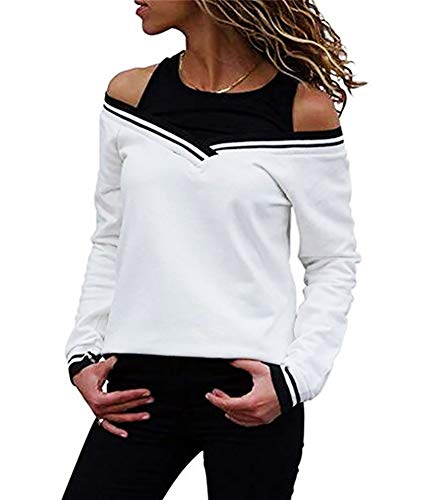 ThusFar Womens Off Shoulder Layered Look Long Sleeve T Shirts Blouses X-Large White