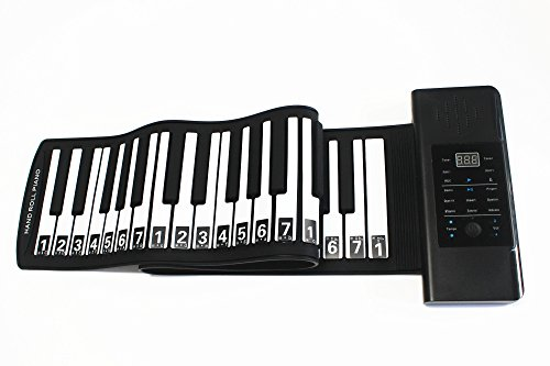 Piano Portable Roll up Piano Keyboard 61 Keys Built-in Stereo Speaker and 1000mA Lithium Battery for Kids Playing, Learning,Entertainment and Tourism (Built-in Battery)
