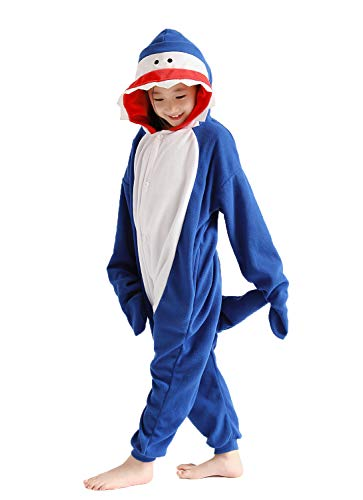 yfgkgkjg Unisex Children Blue Shark Pajamas Luxury Fleece with Pocket One-Piece Cosplay Costume for Kid Halloween]()