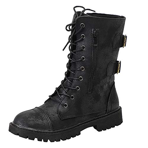 Realdo Women Martin Boots New Rome Knit Mid Calf Lace Up Combat Booties Military Shoes(US 7.5,Black)