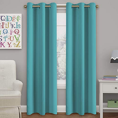 Turquoize Aqua Blackout Curtains for Bedroom Energy Saving Window Treatment Panels for Living Room, 84 inch Long, 2 Panels Set ()