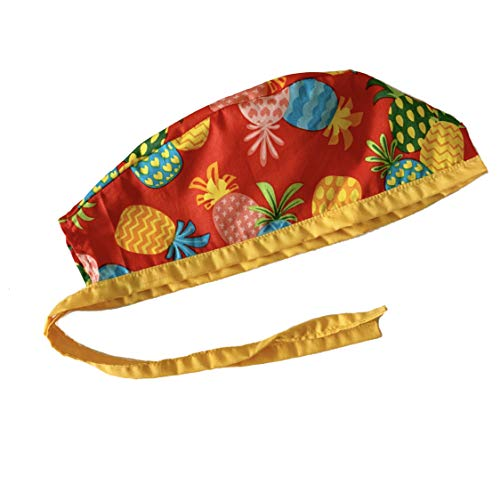 Unisex Mens Tie Back Scrub Cap Surgical Cap Pineapple Red Yellow