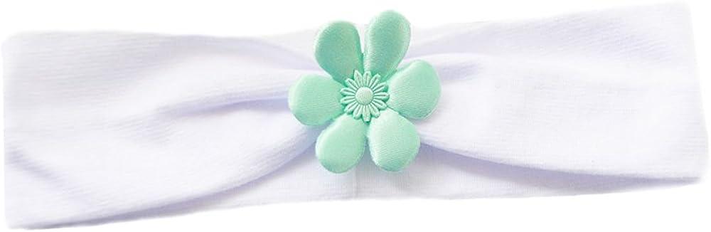 La Bortini Baby Kinder Haarband Stirnband Hairband Wei/ß Mint Blume
