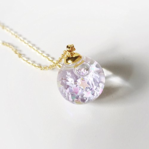 White Star Crystal Glass Ball Necklace - Water Inside - Orb Pendant Prism Charm Snow flakes - Bling - Gold - Diamond