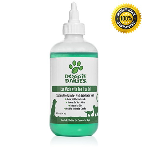 [Ear Cleanser For Dogs Plus Tea Tree Oil & Soothing Aloe Vera, Veterinarian Formulated Dog Ear Cleaning Solution Gently Removes Ear Wax and Debris and Reduces Ear Odor, Made in the USA, 8 fl oz] (Ear Cleaning Solution)