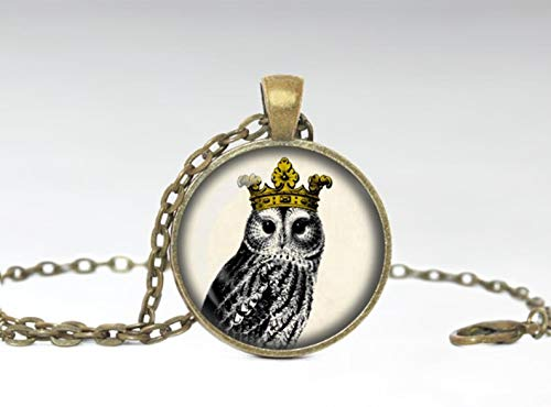 Sunshine Owl with Crown Jewelry ,Owl Necklace ,Owl Glass Pendant ,Original Jewelry,Dome Glass Ornaments, Gifts for her, Beautiful Necklaces