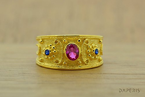 Ruby Ring, Band Ring, Ruby Sapphires Ring, Sterling Silver Ring, Etruscan Ring, Byzantine Ring, 22K Gold Plated Ring, Greek Jewelry, Luxury Ring, Medieval Ring (Ring Etruscan Yellow)