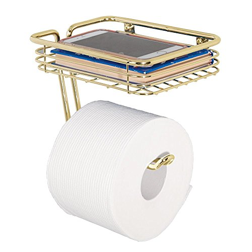 mDesign Wall Mount Toilet Tissue Paper Roll Holder and Dispenser with Storage Shelf for Bathroom Storage - Wall Mount, Holds and Dispenses One Roll - Durable Metal in Soft Brass ()