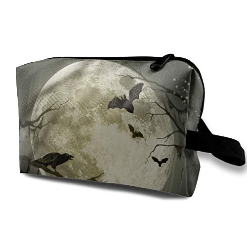 Portable Waterproof Travel Cosmetic Bag - Halloween Moon Illustration Art Lady Makeup Organizer Clutch Bag with Zipper - Travel Toiletry Storage Pouch Pencil Holder