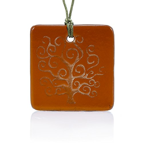 Moneta Jewelry, Recycled Glass Tree of Life Pendant Necklace, Handmade, Fair Trade, Unique Gift (Amber) ()