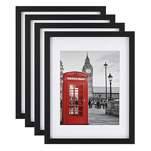 ONE WALL 11x14 Picture Frame 4PCS Tempered Glass with Mats for 8x10, 5x7 Photo, Black Wood Frame for Wall and Tabletop - Mounting Material Included
