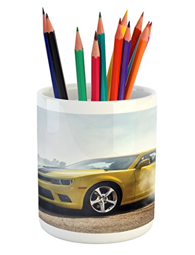 Ambesonne Cars Pencil Pen Holder, Racer Sports Car in Course of Competition Drifting with Moving Wheels on Asphalt Win Photo, Printed Ceramic Pencil Pen Holder for Desk Office Accessory, Yellow -