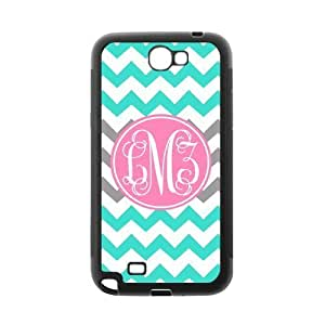 Grey and Cyan Chevron VS Light Pink Monogram Custom Luxury Diy For SamSung Galaxy S4 Mini Case Cover ( Black ) ALL MY DREAMS!!