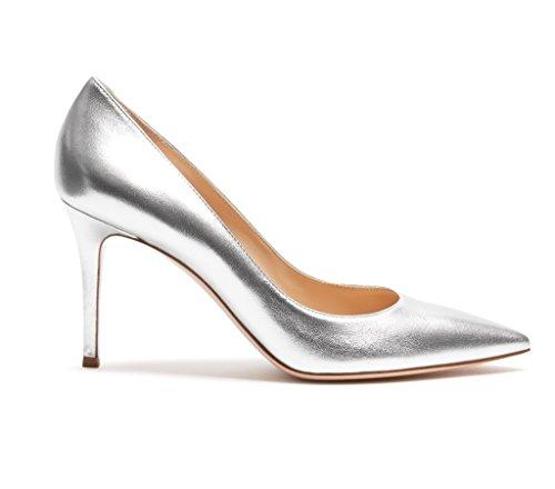 EDEFS Damen High Heels Klassische Pumps Geschlossene Spitze Zehen Übergröße Schuhe 8cm Absatz Silber