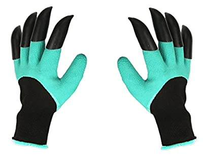 NNRT Garden Gloves With Claws, Great for Digging Weeding Seeding poking -Safe for Rose Pruning –Best Gardening Tool -Best Gift for Gardeners (Double Claw)
