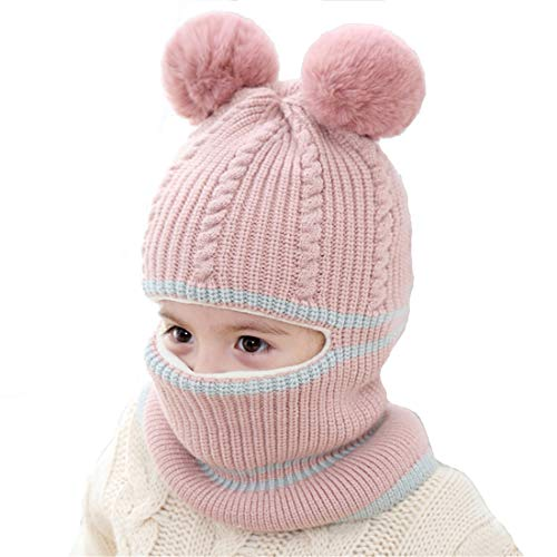 Kids Winter Hat, Baby Knit Hat, Baby Girls Boys Winter Hat, Thick Scarf Earflap Hood Scarves Skull Caps, 1-5 Years Kids (Bear Pink)
