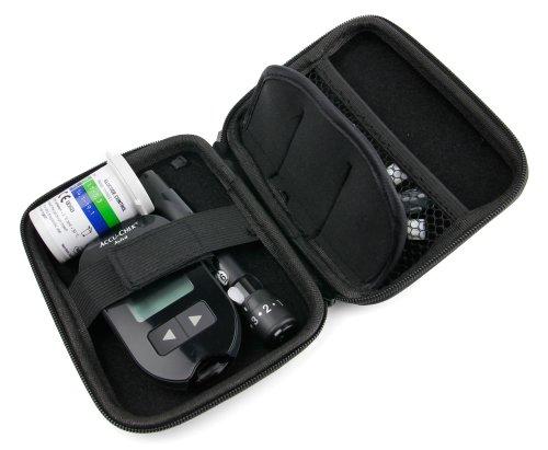 DURAGADGET Noir insuline rigide diabète médicale Coque Stockage / Voyage Fournitures Avec sécurisé double Zips et Netted compartiment interne