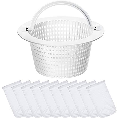 Replacement Skimmer Basket Strainer Basket Small Standard Size with 10 Pool Skimmer Socks, Durable Elastic Nylon Fabric Filters for Swimming Pools, Pool Supplies Skimmers (White Handle)