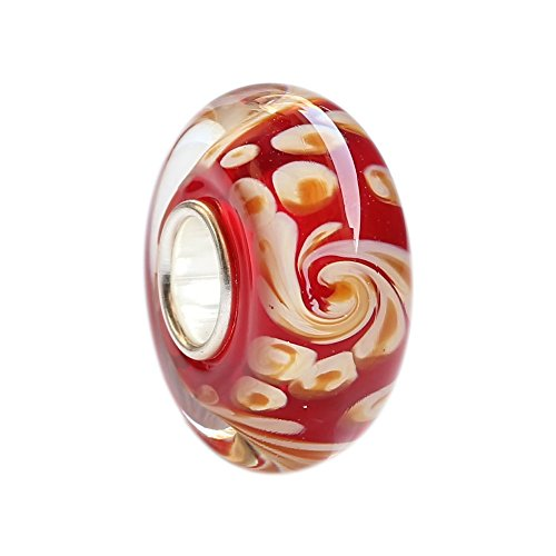 Red Swirls Design Sterling Silver Core Handmade European Style Murano Glass Beads Charms (Charm Bead Silverado)