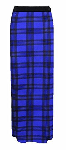 Maxi lastique Femmes Gitan Bleu Longue Jupe Tartan Plaine Elum OaXwqIw