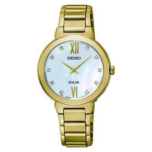 Seiko Women's Solar 30mm Gold-Tone Steel Bracelet & Case Hardlex Crystal MOP Dial Analog Watch SUP384P1