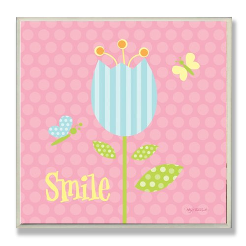 The Kids Room by Stupell Smile Blue Striped Tulip Square Wall Plaque