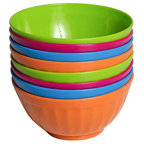 Klickpick Home Set Of 8 - 28 Ounce Plastic Bowls For Cereal, Soup, Ice Cream, Salad, Pasta, Fruit l 4 Classic Colors l Dishwasher Safe -