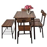 Lucky Tree 6 Piece Dining Room Table Set Wooden Kitchen Table and 5 Chairs with Metal Legs